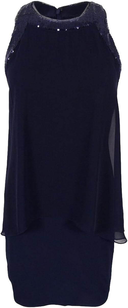 Betsy & Adam Women's Chiffon-Overlay Sequin-Trim Shift Dress