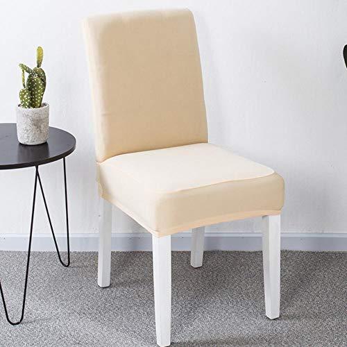 Effen kleur Cover stoelen Eetkamer stretch Spandex stoel Seat beschermhoes Elastische stoelhoezen Kussenovertrekken voor restaurant, Champagn, 6st