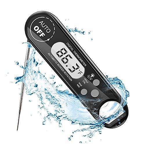 Teslong Digitales Fleischthermometer, IP67 Wasserdicht Grillthermometer, LCD-Bildschirm, Automatisches Ein- und Ausschalten, Lebensmitteltemperatur schnell ablesen, mit Magneten, für Küche, Grillen