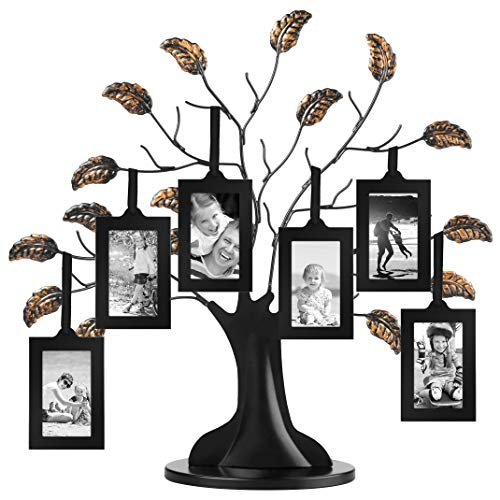 """Americanflat Bronze Family Tree with 6 Hanging Picture Frames 2"""" x 3"""" in Black and Adjustable Ribbon Tassels - 12"""""""