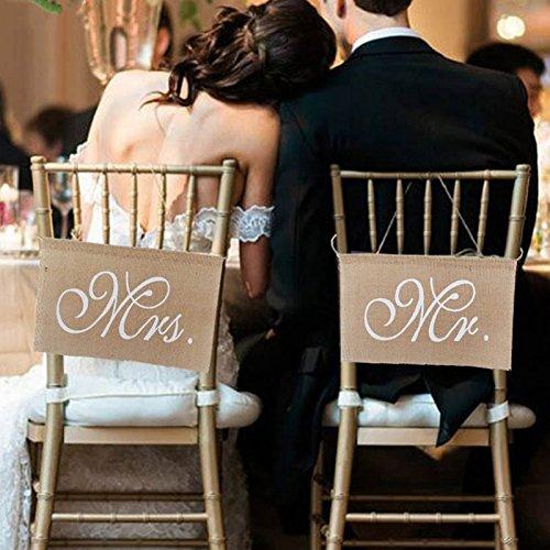LinTimes MR & MRS Mariage Bannière de Chaise Jute Décoration Pour le Mariage