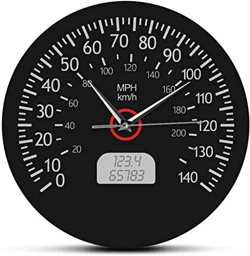 Reloj De Pared Reloj De Pared Velocímetro Kilómetros Y Millas Reloj De Pared Impreso Mecánico De Carreras Arte De Pared Negro Tablero De Instrumentos Del Automóvil Reloj De Pared Decoración De Garaje