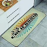 Blived Tapis de Cuisine,Vintage California Surf Beach Dessin Aventure Culture Surfboard, Tapis de Sol antifatigue Tapis antidérapant en Microfibre 47,2 x 17,7 Pouces