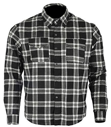 Bikers Gear Australia - Camisa protectora de franela para motocicleta con forro de aramida multicolor negro y blanco extra-large