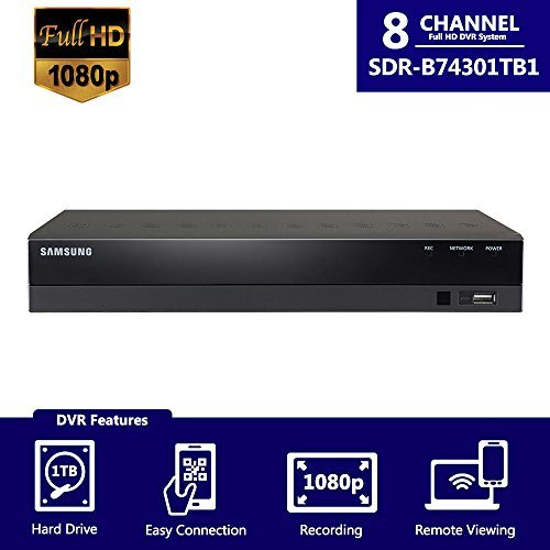 Samsung SDR-B74301N1T 8 Channel Full HD 1080p Video Security DVR with 1TB Hard Drive from SDH-B74041