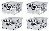 Kreher Set 4 Stück Deko Karton'Barock Weiß'. Stabile Kartons aus Pappe in Weiß mit schwarzer...