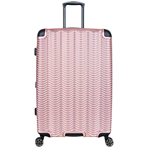 Kenneth Cole Reaction Wave Rush 28' Lightweight Hardside 8-Wheel Spinner Expandable Checked Suitcase, Rose Gold