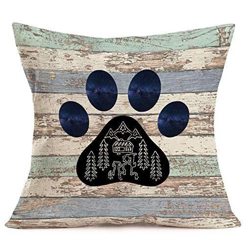 Happy Camper - Funda de Almohada Retro de Madera con Pata de Perro, Fundas de Cojines Decorativos, Funda de Almohada para sofá Cama, 18 'x 18', para sofá, Coche, Cama