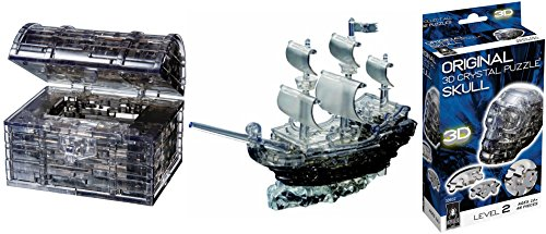 Pirate Ship, Treasure Chest and Skull - Original 3D Bepuzzled Crystal Puzzle Bundle 3 Items -