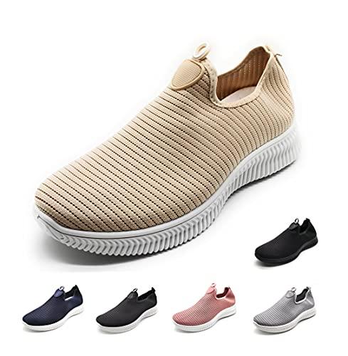 Zapatillas Deportivas para Mujer sin Cordones Muy Transpirables Beige 38