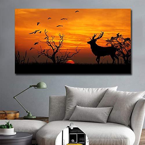Wfmhra Póster de Pintura al óleo de Lienzo Moderno Africano, Impresiones Impresas, Imagen artística de Paisaje, póster Impreso, impresión en Lienzo, 50x80cm sin Marco