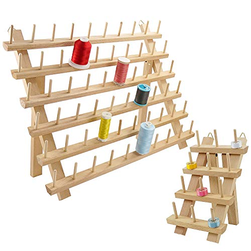 New brothread 60 Spulen + 12 Spulen Holz Fadenhalter/Garnhalter/Fadenspulen Organizer mit Haken zum Aufhängen für Stickerei, Quilten, Nähen, Haare Flechten - Mutter + Kind Fadenhalter