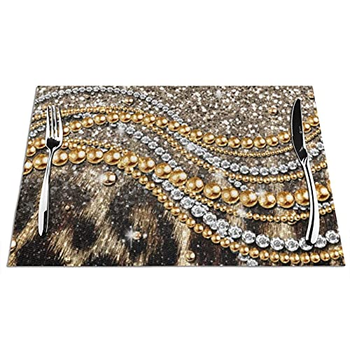 Tcerlcir Placemats Set of 6 Beautiful Trendy Leopard Faux Animal Print Heat Resistant Washable Non-slip Place Mats Table Mats for Kitchen Dining Table 18'X12'