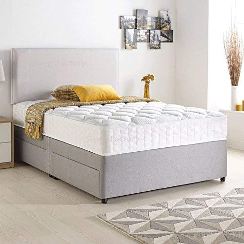Sleep Factory Limited Divan Bed Set with Quilted Ortho Mattress,Headboard and 2 free drawers, Silver Suede, 4FT Small Double (120 cm x 190 cm)