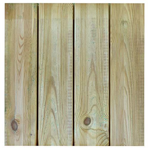 Terrassen-Fliesen Holzfliesen für den Balkon und Garten 50x50cm 1m² (4 Stück) | Holz-fliesen von Nordje® (grün - französisches Profil)