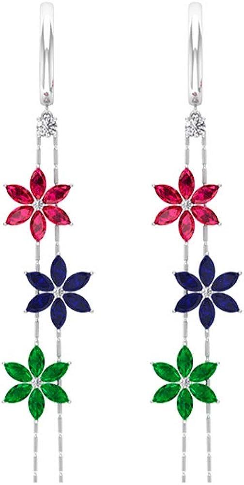 4.20 Ct Blue Sapphire Flower Earring, SGL Certified Diamond Ruby Emerald Earring, IJ-SI Diamond Wedding Hoop Earring, Marquise Shape Gemstone Earring, clip-on
