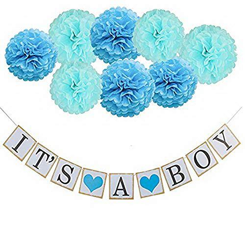 thematys È Una Ragazza   Ragazzo Ghirlanda Deco - Perfetta Come Decorazione per Baby Shower - Deco Set per Ragazzo e Ragazza con Pompoms in Rosa e Blu
