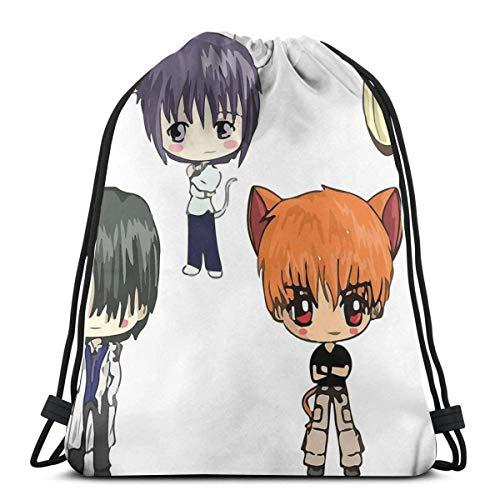 Fruits Basket Chibi Anime Unisex Bolsas De Cordones Multiusos Mochila Cordónes Cómodo Gimnasia Saco Bolsa para Viajar Escuela Deportes