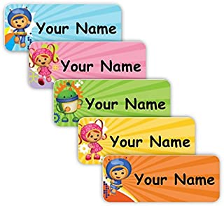 Team UmiZoomi Theme Original Personalized Peel and Stick Waterproof Custom Name Tag Labels for Adults, Kids, Toddlers, and Babies – Use for Office, School, or Daycare