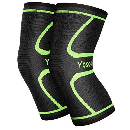 Yosoo Knee Sleeves 1 Paar, Athletic Kompression Kniebandage für Laufen, Joggen, Wandern, Basketball, Knieverletzung Schmerzen Arthritis Erleichterung, Männer & Frauen Geschenk (Größe L)