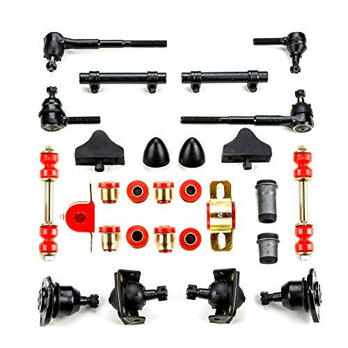 Andersen Restorations Red Polyurethane Front End Suspension Master Rebuild Kit with Idler Arm Bushing Repair Kit Compatible with Chevrolet Full Size OEM Spec Replacements (28 Piece Kit)