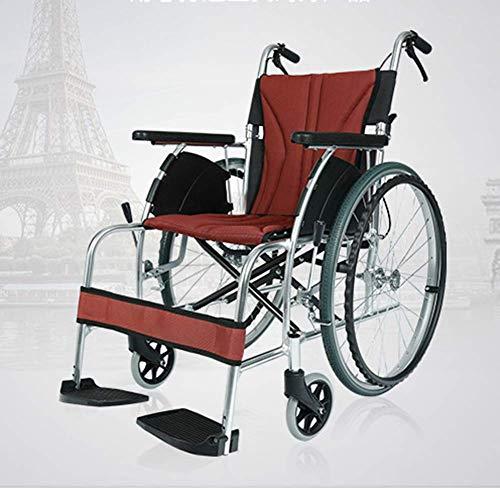 Yhtech Silla de rehabilitación médica, silla de ruedas, silla de ruedas plegable portátil ligero de aleación de aluminio de ancianos Pequeño viaje Ultraligero Vespa de conducción médica tren Aeronaves