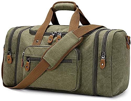 Ericsson - Borsone in tela per viaggi, per il weekend, per la notte, borsa da viaggio all'aperto, borsa a tracolla portatile in tela, borsa a tracolla casual di grande capacità (colore: Verde)