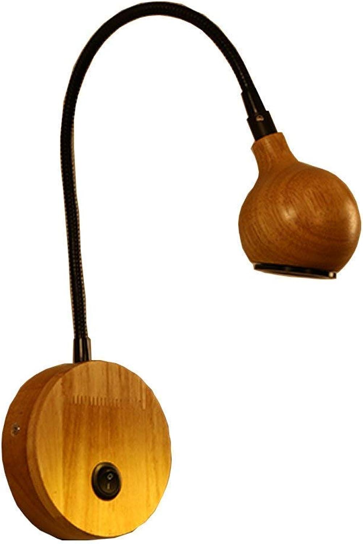 barato en línea  Lámpara de parojo de registro nórdico, lámpara lámpara lámpara de parojo creativa Lámpara de parojo led de cuello de cisne Lámpara de cabecera de dormitorio de madera sólida minimalista moderna Lámpara de lectura Lá  alta calidad general