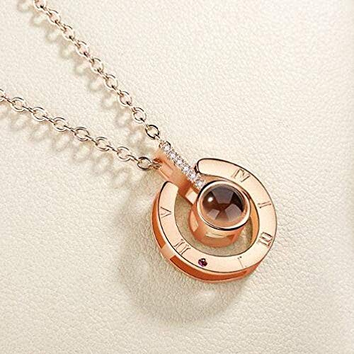 niuziyanfa Co.,ltd Necklace Valentine's Day Necklace I Love You Rose Gold Pendant Necklace Imitation Rhodium-Plated