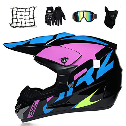 Motocross Helm Damen Schwarz Lila Motorrad Crosshelm Kinder Set (5 Stücke/Brille/Handschuhe/Maske/Motorrad Netz) Motorradhelm Schutzhelm Set für Off Road ATV Downhill MTB,L