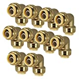PROCURU 1/2-Inch PushFit Elbow 90-Degree - Push-to-Connect Plumbing Fitting for Copper, PEX, CPVC, Lead Free Certified (1/2', 10-Pack)