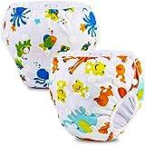 PHOGARY Baby Schwimmwindel (2er-Pack) für Baby (0-3 Jahre), Schwimmhose wiederverwendbarer Badeanzug für 3-15kg Babys, Waschbar (Meereslebewesen+Frosch)