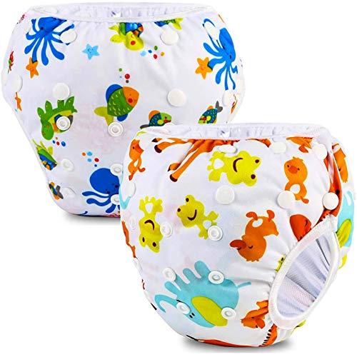 Phogary Pañal Bañador (2 Piezas) Pañal De Natar Pantalones De Entrenamiento, Pañales De Baño Para Niños Niñas 0-3 Años (3-15kg), Zoológico+Criatura del Océano