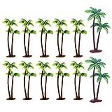 Androxeda 12 PCS Plastica Palma da Cocco Modelli in plastica artificiale Alberi Palme da Cocco in Miniatura Albero del Drago Modello Palme Mini paesaggio Pianta Verde per Mini Paesaggio paesaggistico
