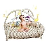 Bionic Bett Reisebett Neugeborene Wiege Gepolsterter Ränder, Tragbares Abnehmbares Entwicklung des Gehirns Spielzeug Neugeborenenbett Für Schlafzimmer Und Reisen,55X89cm