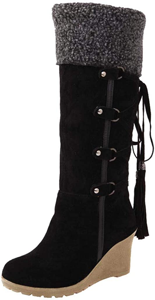 XTBFOOJ Women Suede Wedges Snow Boots Knee High Warm Faux Fur Lined Mid-Calf Booties Warm Fur Fringe Lace Up Winter Boots Shoe