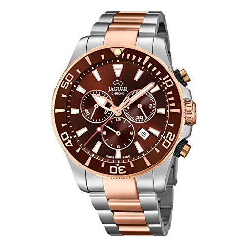JAGUAR J868/1 Executive Collection Armbanduhr, 43,5 mm, Schokoladenbraun, Armband aus Stahl, bronzefarben