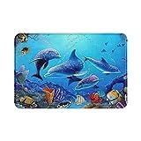 WOWUSUO Fantastic Underwater World Bath Mat Dolphin Shark Coral Non Slip Super Bathroom Rug Indoor Carpet Doormat Floor Dirt Trapper Mats Shoes Scraper 24x16 Inch