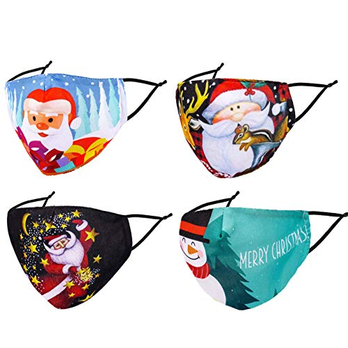 Reusable Face Mask Christmas Santa Xmas Cloth Women Men Mazarine Pretty Funny Breathable Designer Winter 3 Layer Adjustable Washable Anime Cute Cotton Fashionable Sports Madks. Adult Gifts
