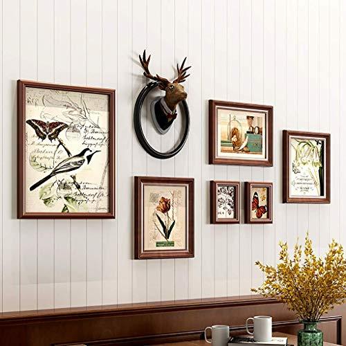 Juego de marcos de fotos de madera con marco de fotos de madera, juego de 6 marcos de fotos, kit de galería de 3 colores (color: B) fangkai77 (color B: B)