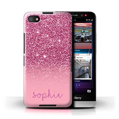 Personalisiert Hülle Für BlackBerry Z30 Individuell Glitter Effekt Rosa Design Transparent Ultra Dünn Klar Hart Schutz Handyhülle Case