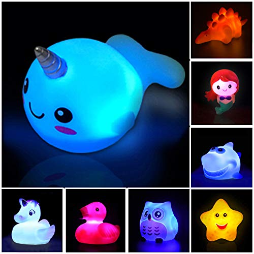 Jomyfant Bath Toys (8 Packs Rubber Animals Toys) Light Up Floating Rubber Toys Flashing Color Changing Light in Water Bathtub Shower Games Toys for Baby Kids Toddler Child