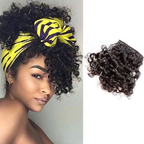Shinon Curly Bangs Human Hair Clip in Bangs Hair Extension Real 10 A Curly Hair Bangs Black Color
