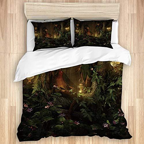 MEJX Bettwäsche-Set Bettbezug Bettlaken,Fantasy Enchanted Jungle Elf Girl Ents Laternen Wildflower Print,Mikrofaser Betttuch 260x240 mit 2 Kissenbezüge 80x50,Super King