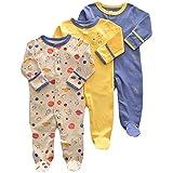 Bebé Niños Niñas Mono Mameluco de Manga Larga Body Algodón Peleles Comodo Pijama Regalo de Recien Nacido, Pack de 3, 6/9 Meses