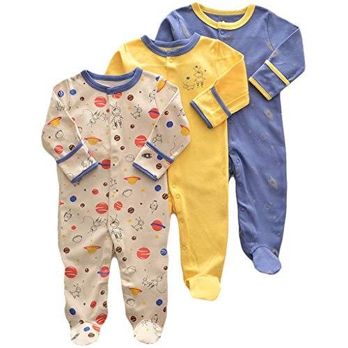 Bebé Niños Niñas Mono Mameluco de Manga Larga Body Algodón Peleles Comodo Pijama Regalo de Recien Nacido, Pack de 3, 3/6 Meses