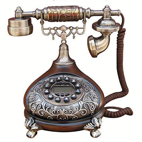 Teléfono Retro con Cuerpo de Metal, teléfonos Antiguos con Acabado de Metal en Bronce, teléfono Fijo, botón cordón Rizado y Timbre Tradicional, teléfonos de Oficina, teléfono, hogar, Sala de Estar