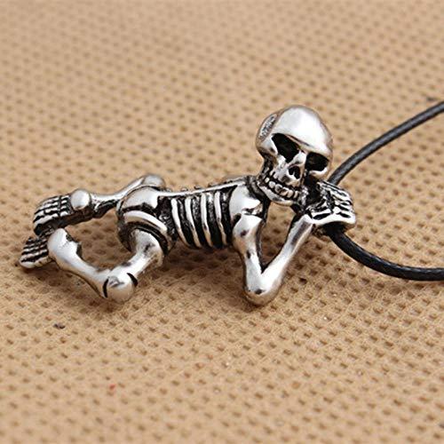 Collar Collar con Colgante De Calavera Punk Declaración Esqueleto Vintage Collares Góticos para Hombres Cuerda De Cuero Cadena Joyería Niños Fiesta