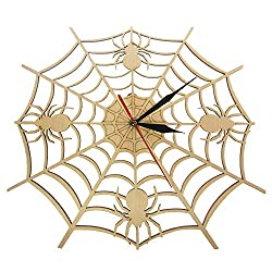 N / A Wall Clock Modern Cobweb Wall Clock in Natural Wood Halloween Nightmare Creepy Spider Wooden Wall Clock Onyx Man Cave Home Decor Giftideal for Any Room in Home Dining Room Kitchen Office