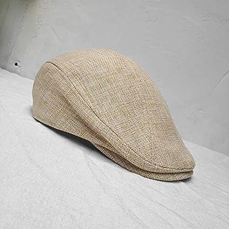 Sombrero de Doble Uso para Hombre Boina Sombrero de Hiedra Boina de algod/ón y Lino Retro de Mujer cl/ásica/-Beige-3-S 54-56CM